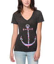 Empyre Girls Tribal Anchor Heather Charcoal V-Neck Tee Shirt