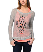 Empyre Girls Tribal Black Speckle Crew Neck Sweater
