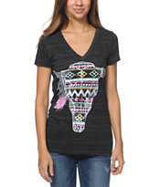 Empyre Girls Tribal Cow Skull Black V-Neck Tee Shirt