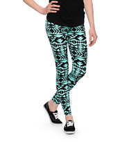 Empyre Girls Tribal Print Mint & Black Leggings