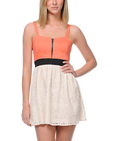 Empyre Girls Tula Coral Crochet Zipper Dress