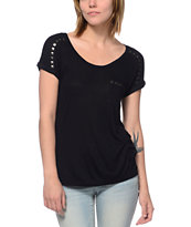 Empyre Girls Vickery Studded Black Pocket Tee Shirt
