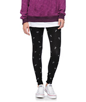 Empyre Girls White Anchor Black Leggings