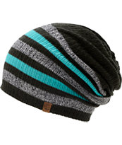 Empyre Girls Zodiac Black, Teal, & Charcoal Stripe Beanie