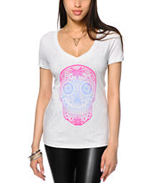 Empyre Gradient Sugar Skull V-Neck T-Shirt