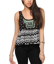 Empyre Griffith Mixed Chevron Crop Tank Top