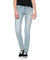Empyre Hannah Distressed Crochet Light Bleach Skinny Jeans