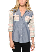 Empyre Hanover Chambray & Stripe Hooded Shirt
