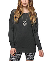 Empyre Harley Charcoal Lace Inset Dolman Top