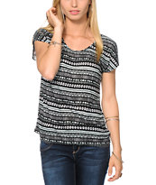 Empyre Hatfield Black & Mint Tribal Print Dolman Tee Shirt