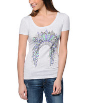 Empyre Head Dress Up Heather White Scoop Neck T-Shirt