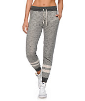 Empyre Hetty Charcoal Speckle Crochet Inset Jogger Pants