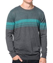 Empyre Hot Dog Charcoal & Teal Intarsia Sweater