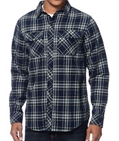 Empyre Huntin Navy & Green Plaid Long Sleeve Flannel Shirt