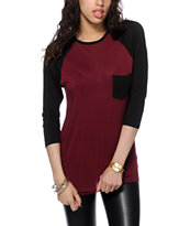Empyre Indira Burgundy & Black Baseball T-Shirt