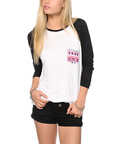 Empyre Indira Tribal Pocket Black & White Baseball Tee Shirt