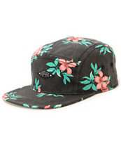 Empyre Islander Black Floral 5 Panel Hat