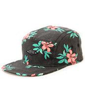 Empyre Islander Black Floral 5 Panel Hat