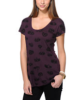 Empyre Janesville Skulls Blackberry Purple Dolman Top