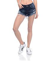 Empyre Jenna Dark Wash Distressed Shorts