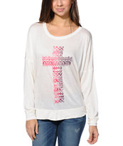 Empyre Kaden Cross Vanilla White Long Sleeve Dolman Top