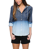 Empyre Kassie Dip Dye Denim Hooded Shirt