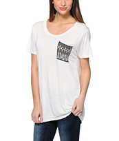 Empyre Kessler Feather Print Pocket White Tee Shirt
