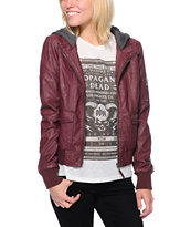 Empyre Kingston Maroon Faux Leather Bomber Jacket
