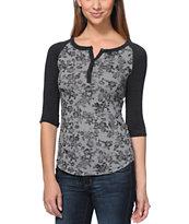 Empyre Knox Black & Grey Floral Print Henley Shirt