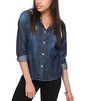 Empyre Lani Stripe & Dark Wash Denim Hooded Shirt