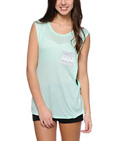 Empyre Lauryn Aztec Pocket Mint Muscle Tee Shirt