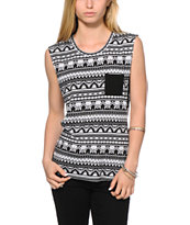 Empyre Lauryn Black & White Tribal Muscle Tee