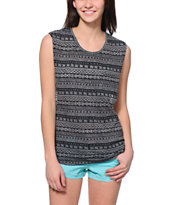 Empyre Lauryn Black Tribal Print Muscle Tee Shirt