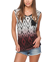 Empyre Lauryn Blackberry Tribal Dip Dye Muscle Tee