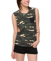 Empyre Lauryn Camo Print Pocket Muscle Tee Shirt