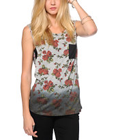 Empyre Lauryn Dip Dye Floral Muscle T-Shirt