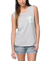 Empyre Lauryn Floral Pocket Grey Muscle T-Shirt