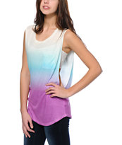 Empyre Lauryn Purple, Mint & Cream Ombre Muscle T-Shirt