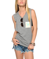 Empyre Lauryn Tie Dye Pocket Grey Muscle Tee Shirt