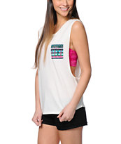 Empyre Lauryn Tribal Pocket Cream Muscle Tee Shirt