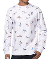 Empyre Leary Bird Print White Crew Neck Fleece Sweatshirt