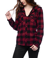 Empyre Lenox Blackberry Plaid Hooded Flannel Shirt