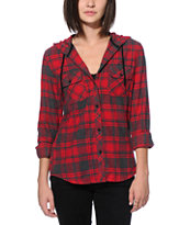 Empyre Lenox Jester Red & Charcoal Hooded Flannel Shirt