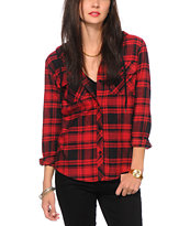 Empyre Lenox Red Hooded Flannel Shirt