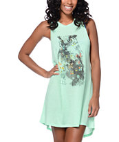 Empyre Lexie Wild And Free Owl Mint Open Back Tank Dress