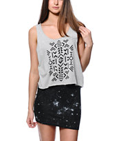 Empyre Lydia Tribal Grey Crop Tank Top