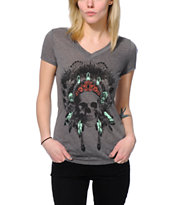 Empyre Made Of Skull Charcoal V-Neck Tee Shirt