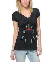 Empyre Made Of Skull Dark Charcoal V-Neck T-Shirt