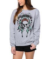 Empyre Made Of Skull Heather Grey Crew Neck Sweatshirt