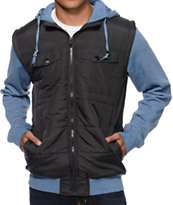 Empyre Magnus Charcoal & Heather Blue Zip Up Hooded Vest
